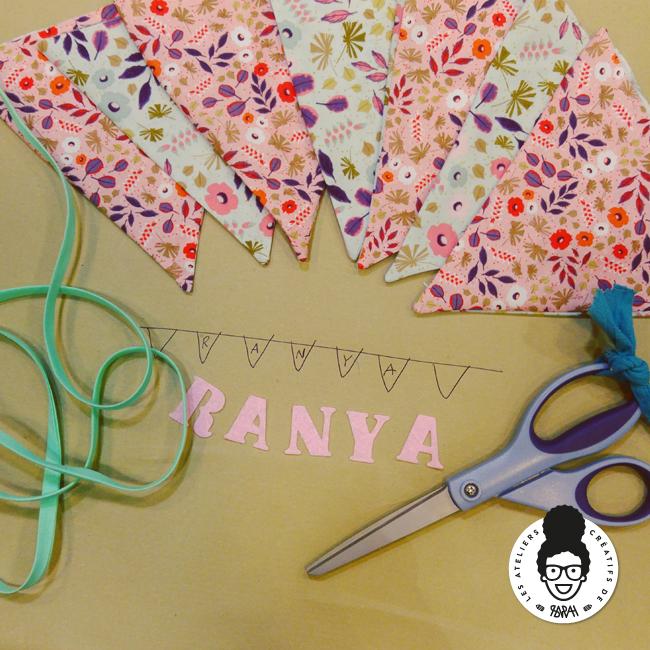 les ateliers créatifs de sarah gyver couture guirlande de fanions Zôdio