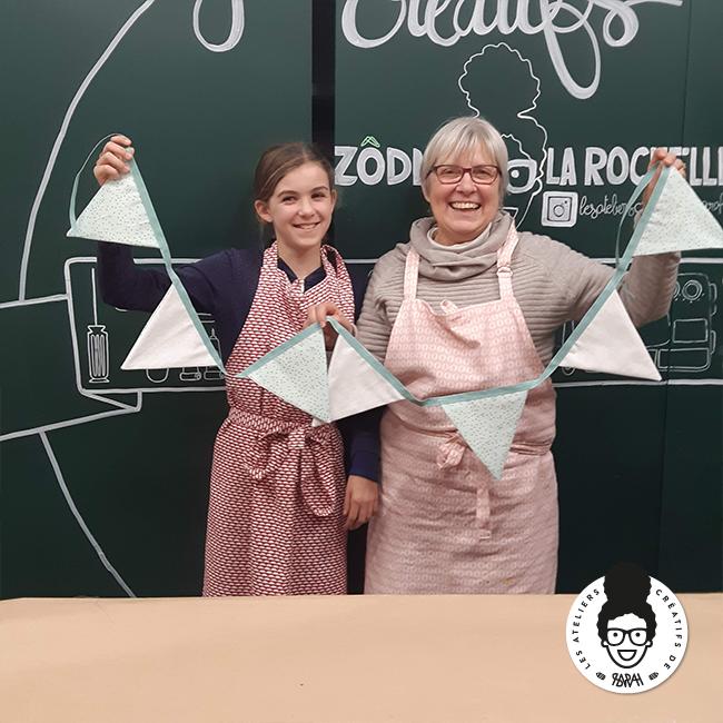 les ateliers créatifs de sarah Gyver Gaouaoui Zôdio La Rochelle atelier couture parent enfant fanion diy